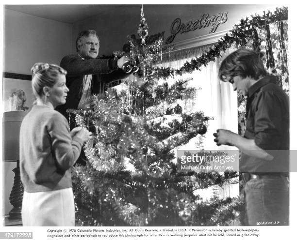 """Actress Barbara Bel Geddes and actors Jack Warden and Michael Douglas in a scene from the movie """"Summertree"""" circa 1971."""