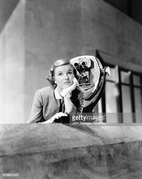Actress Barbara Bel Geddes by a stationary viewer.