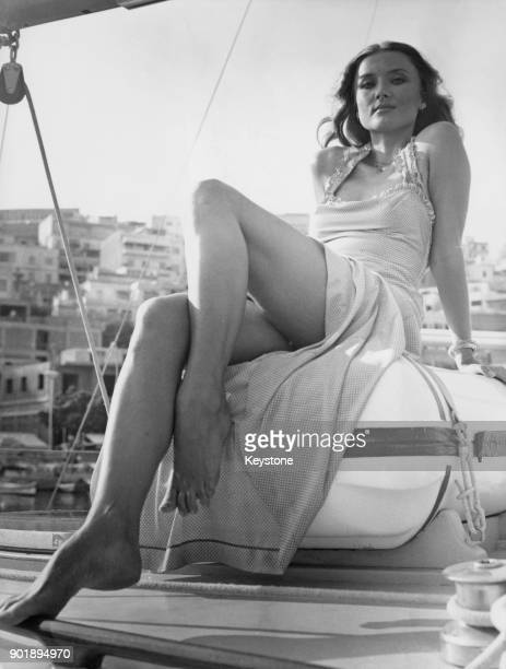 Actress Barbara Bouchet on board a yacht in Athens Greece where she is filming 'To Agistri' circa 1976