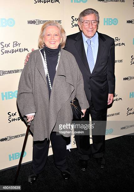Actress Barbara Cook and Tony Bennett attend HBO's New York Premiere of Six by Sondheim at Museum of Modern Art on November 18 2013 in New York City