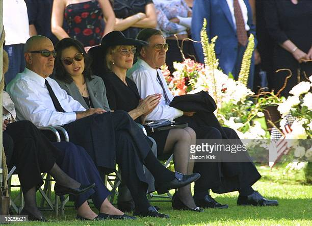 Actress Barbara Eden 2nd right attends the funeral for her son Matthew Ansara July 2 2001 in Hollywood CA Matthew Michael Ansara was found dead on...