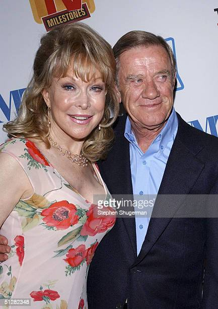 Actress Barbara Eden and her husband John Eicholtz attend the Museum of Television and Radio Cocktail Party on September 9 2004 at The Museum of...
