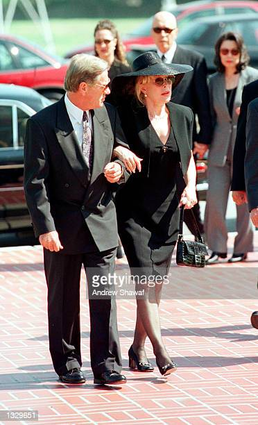 Actress Barbara Eden and her husband Jon Eicholtz arrive for the funeral service at the Forest Lawn Cemetery for her son Matthew Ansara July 2 2001...