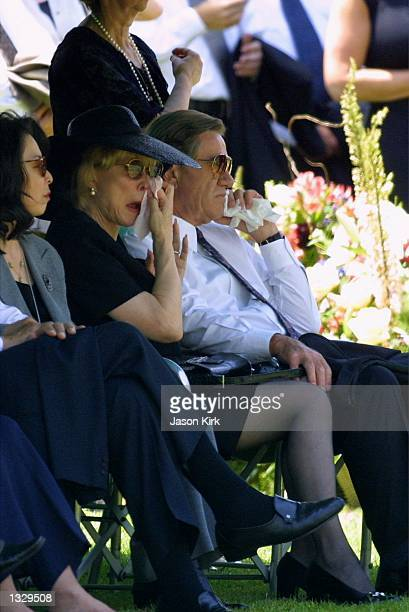 Actress Barbara Eden and her husband Jon Eicholtz right attend the funeral for Eden''s son Matthew Ansara July 2 2001 in Hollywood CA Matthew Michael...