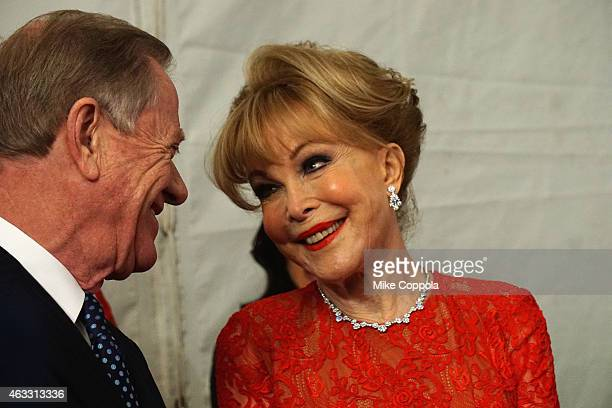 Actress Barbara Eden and husband Jon Eicholtz attend the Go Red For Women Red Dress Collection 2015 presented by Macy'sfashion show during...