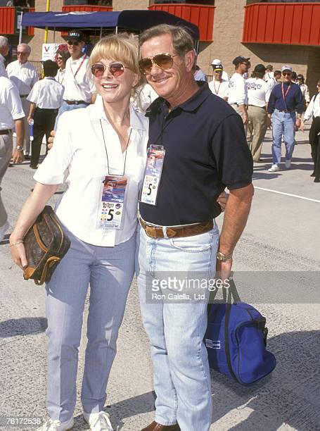 Actress Barbara Eden and husband Jon Eicholtz attend the Marlboro 500 CART Race Presented by Toyota on November 1 1998 at California Speedway in...