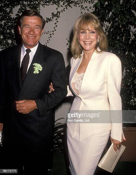 Actress Barbara Eden and husband Jon Eicholtz on March 17 1990 dining at Jimmy's Restaurant in Beverly Hills California