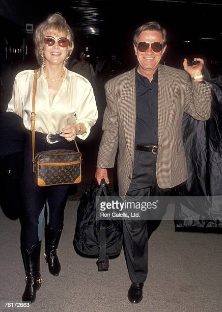 Actress Barbara Eden and husband Jon Eicholtz on October 26 1993 arriving at Los Angeles International Airport in Los Angeles California