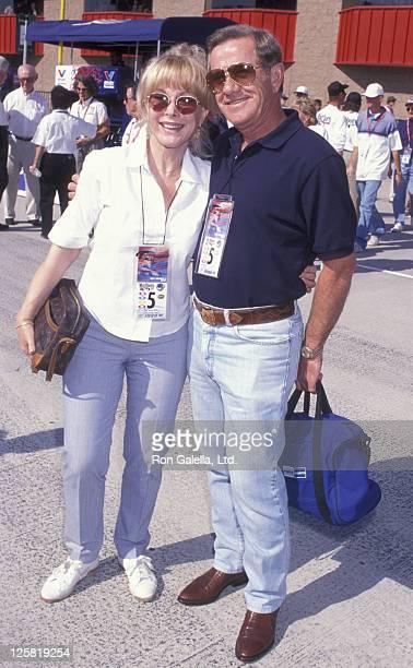 Actress Barbara Eden and John Eicholtz attend Marlboro 500 Auto Race on November 1 1998 at the Fontana Motor Speedway in Fontana California