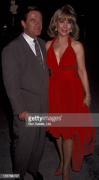 Actress Barbara Eden and John Eicholtz attend the book party for Sidney Sheldon Memories of Midnight on October 2 1991 at the Bistro Restaurant in...