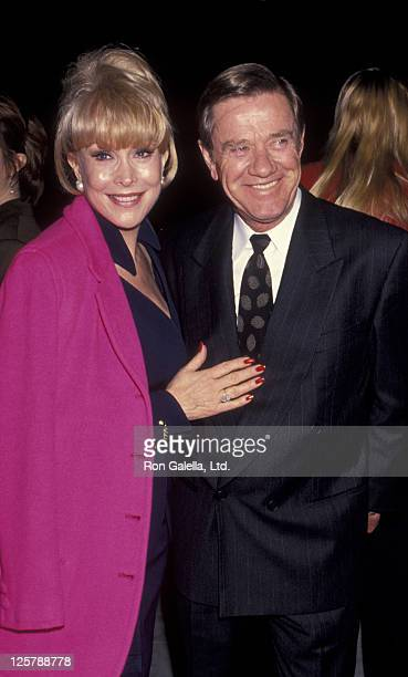 Actress Barbara Eden and John Eicholtz attend the premiere of Nell on December 13 1994 at the Academy Theater in Beverly Hills California