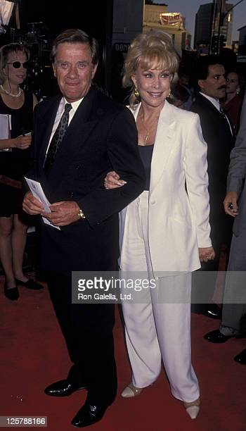 Actress Barbara Eden and John Eicholtz attend the screening of The Burning Season on September 12 1994 at Mann Bruin Theater in Westwood California