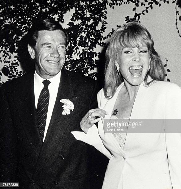 Actress Barbara Eden and Jon Eicholtz being photographed on March 17 1990 at Jimmy's Restaurant in Beverly Hills California