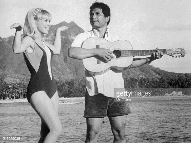 Actress Barbara Eden and singer Don Ho of Hawaii in a scene from the TV show I Dream of Jeannie