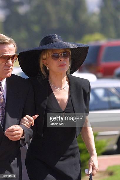 Actress Barbara Eden arrives at the funeral for her son Matthew Ansara July 2 2001 in Hollywood CA Matthew Michael Ansara was found dead on the night...