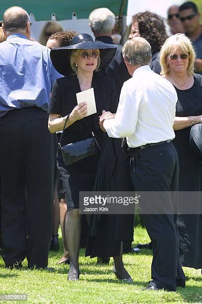 Actress Barbara Eden attends the funeral for her son Matthew Ansara July 2 2001 in Hollywood CA Matthew Michael Ansara was found dead on the night of...