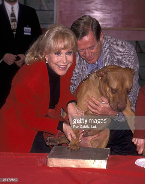 Actress Barbara Eden husband Jon Eicholtz and Rudy the Dog attend the Rudy the Dog Pawprints Ceremony on February 21 1996 at Mann's Chinese Theatre...