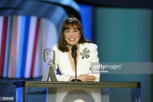 Actress Barbara Feldon accepts her Hippest Fashion Plate Female award for 'Get Smart' during the TV Land Awards 2003 at the Hollywood Palladium on...