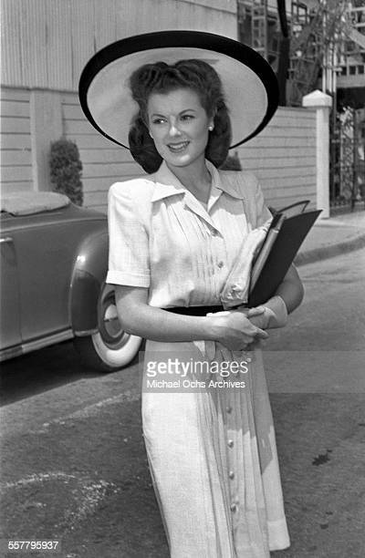 Actress Barbara Hale stops and poses on a street in Los Angeles California