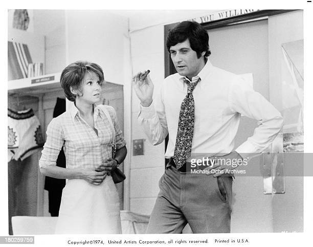 Actress Barbara Harris and actor Joseph Bologna on set of the United Artist movie Mixed Company in 1974