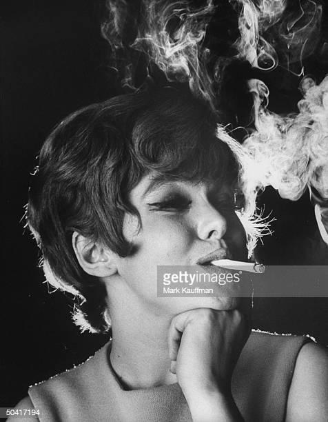 Actress Barbara Harris smoking cigarette