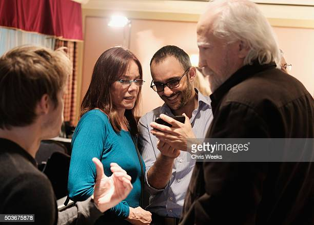 Actress Barbara Hershey and actor Omid Abtahi talk in the green room during the AE Networks 2016 Television Critics Association Press Tour for Damien...