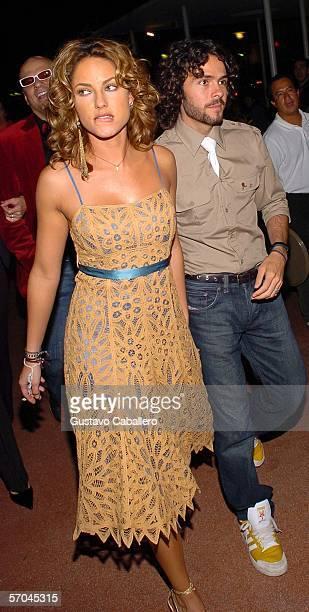 Actress Barbara Mori and boyfriend Jose Maria Torre walk outside the Colony Theatre on Lincoln Road following the world premiere of Pretentiendo at...