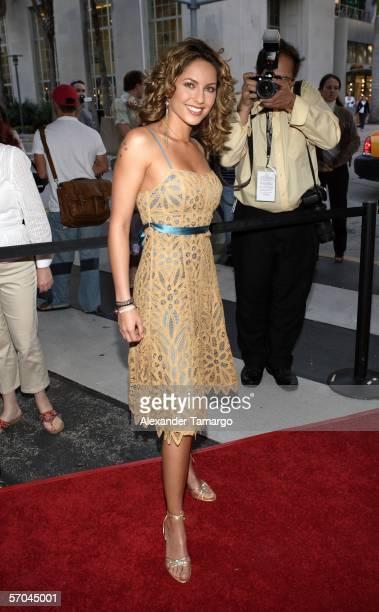 Actress Barbara Mori poses at the Colony Theatre on Lincoln Road following the world premiere of Pretentiendo at the 2006 Miami International Film...