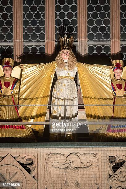 Actress Barbara Otto dressed as the 'Nuremberg Christ Child' opens the 2016 Nuremberg Christmas Market on November 25 2016 in Nuremberg Germany...
