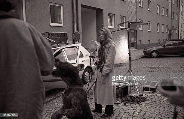 """Actress Barbara Rudnik is seen at the set of the ZDF Movie """"Im Atem der Berge"""" on October 14, 1997 in Munich, Germany."""