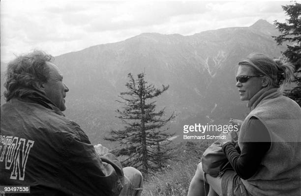 """July 2002: Actress Barbara Rudnik is seen during a hiking tour through the""""Kreuzspitze"""" with friend and actor Gerd Silberbauer at an unknown date in..."""
