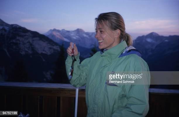 "Actress Barbara Rudnik is seen on a hike to the ""Seekarspitze"" in the Austrian Alps on July 3, 2007 near Scharniz, Austria."