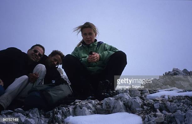"""Actress Barbara Rudnik is seen on a hike to the """"Seekarspitze"""" with actor Michael Tregor in the Austrian Alps on July 3, 2007 near Scharniz, Austria."""