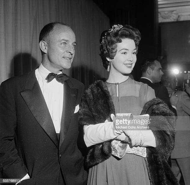 Actress Barbara Rush and escort attend the Academy Awards in Los AngelesCA