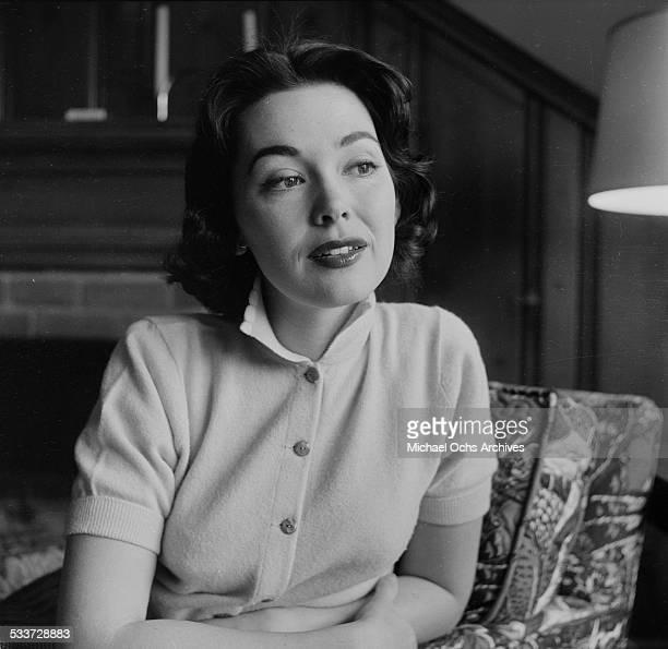 Actress Barbara Rush poses at home in Los AngelesCA