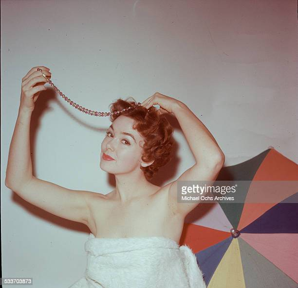 Actress Barbara Rush poses for a portrait at home in Los AngelesCA