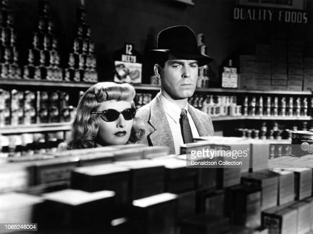 Actress Barbara Stanwyck and Fred MacMurray in a scene from the movie Double Indemnity