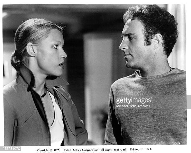 Actress Barbara Trentham and actor James Caan on set of the United Artist movie Rollerball in 1975