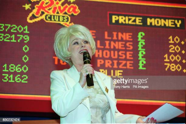 Actress Barbara Windsor who plays Peggy Mitchell in TV's EastEnders comperes a charity bingo game at the Riva Bingo Club London before announcing the...
