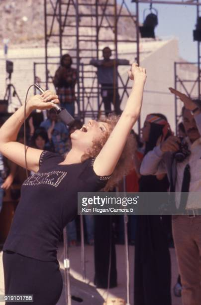 Actress Barbra Streisand is photographed on the set of 'A Star is Born' in 1976 at Sun Devil Stadium in Tempe Arizona CREDIT MUST READ Ken...