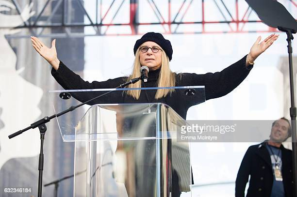 Actress Barbra Streisand speaks onstage at the women's march in Los Angeles on January 21 2017 in Los Angeles California