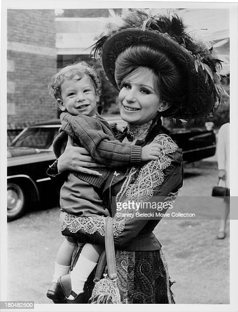 Actress Barbra Streisand with her son Jason Gould on the set of the movie 'Hello Dolly' 1969