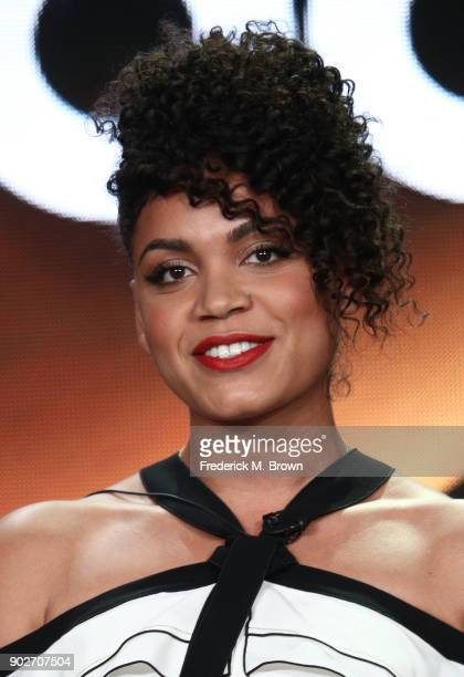 Actress Barrett Doss speaks onstage during the ABC Television/Disney portion of the 2018 Winter Television Critics Association Press Tour at The...