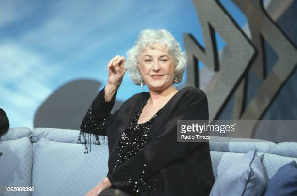 Actress Bea Arthur is interviewed as a guest on the BBC television series 'Bruce's Guest Night' April 12th 1992