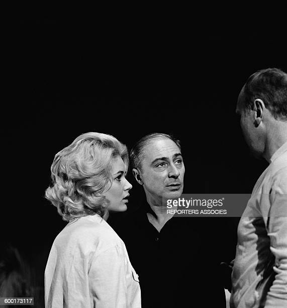 Actress Beba Loncar and Director Gerard Oury On the Set Of the Movie 'Le Corniaud' in France in 1964
