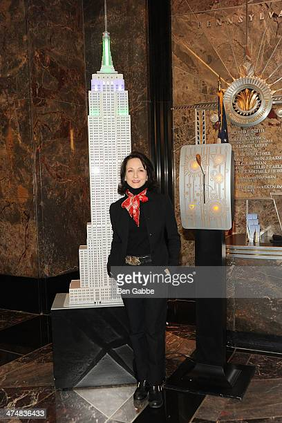 Actress Bebe Neuwirth visits the Empire State Building to kick off National Eating Disorders Association's awareness campaign on February 25 2014 in...