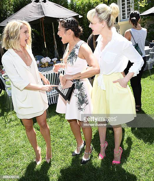 Actress Becca Tobin actress Jenna Ushkowitz and actress Alessandra Torresani attend the June Moss Launch Party hosted by Becca Tobin at a private...