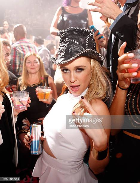 Actress Becca Tobin celebrates her birthday at Hyde Bellagio at the Bellagio on January 26 2013 in Las Vegas Nevada