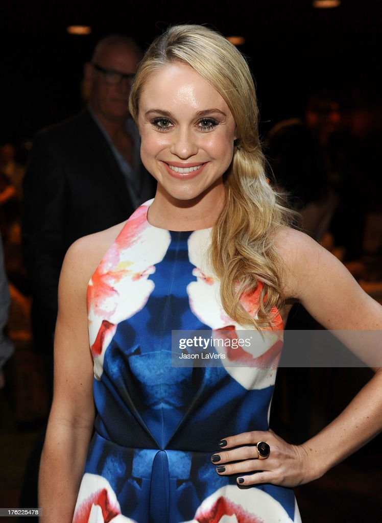 Actress Becca Tobin poses in the green room at the 2013 Teen Choice Awards at Gibson Amphitheatre on August 11, 2013 in Universal City, California.