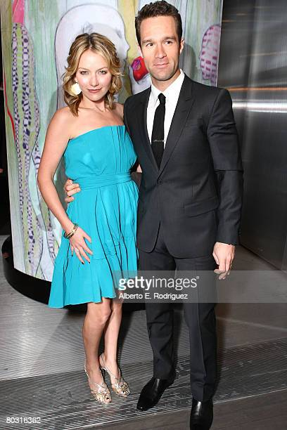 Actress Becki Newton and husband Chris Diamantopoulos attend the Los Angeles screening of Trembled Blossoms presented by Prada on March 19 2008 in...